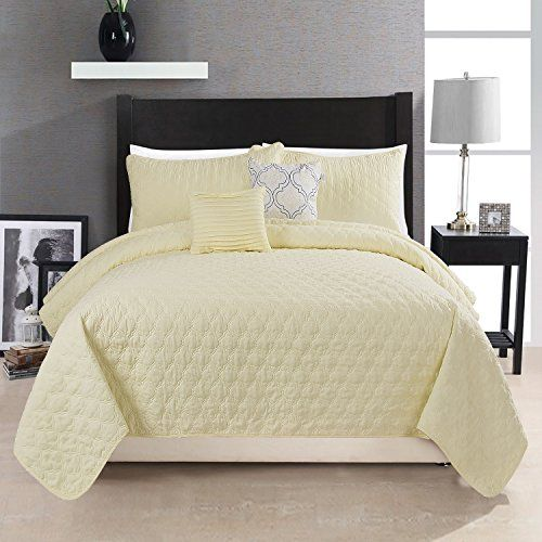 HollyHOME Quilt Set Collection, Solid Lightweight Hypoallergenic Microfiber, 5 Pieces King Size Quilt, Yellow