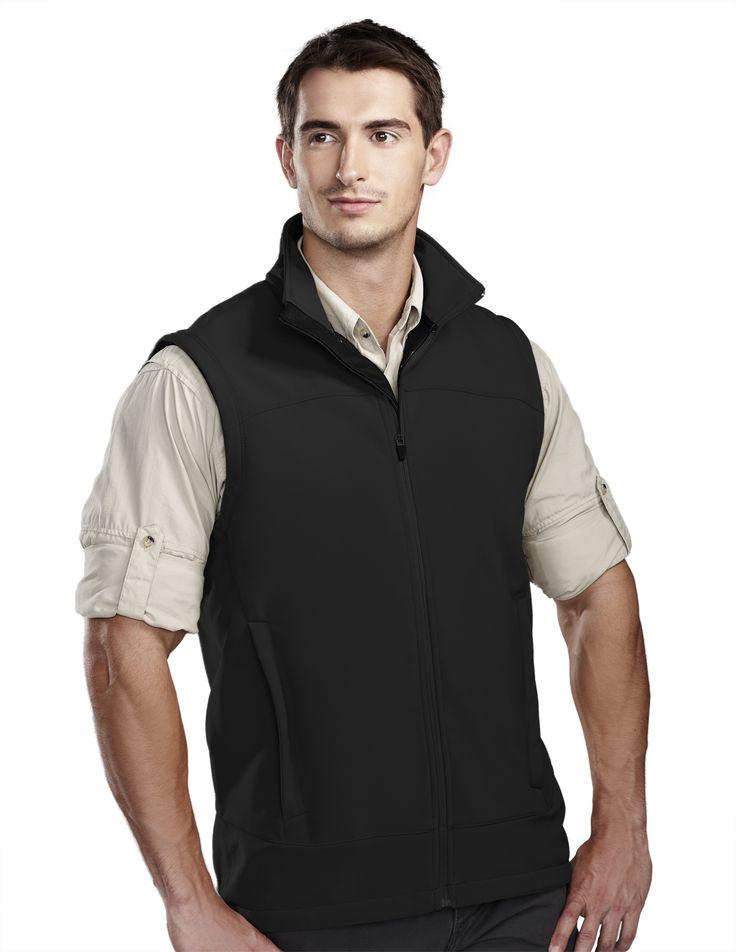Men's Poly Soft Shell Vest Stretch Bonded. Tri mountain 6440 #Men #Trimountain #Vest #Poly