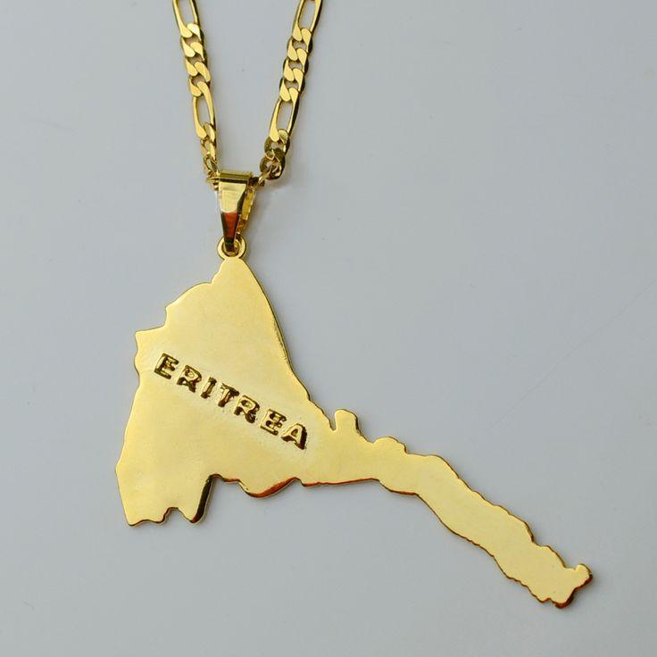 Eritrea Mappa Pendenti e Collane A Catena Donne Uomini/Mappa di Monili Placcati Oro Africa Collana Eritrea, Etiopia #004101