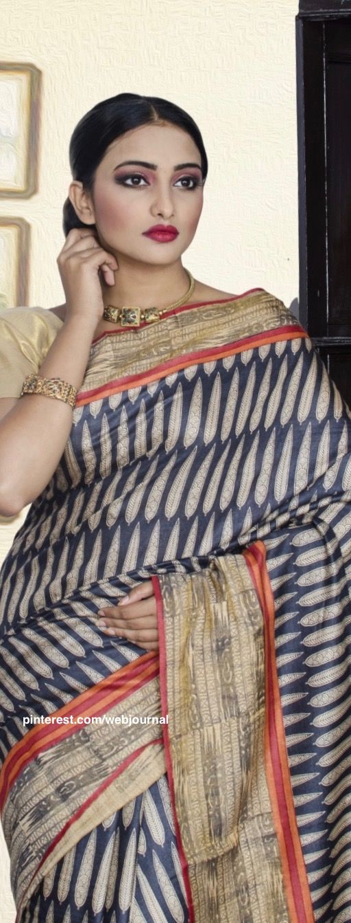 Handwoven Linen tussar from Indiansilkhouse.com