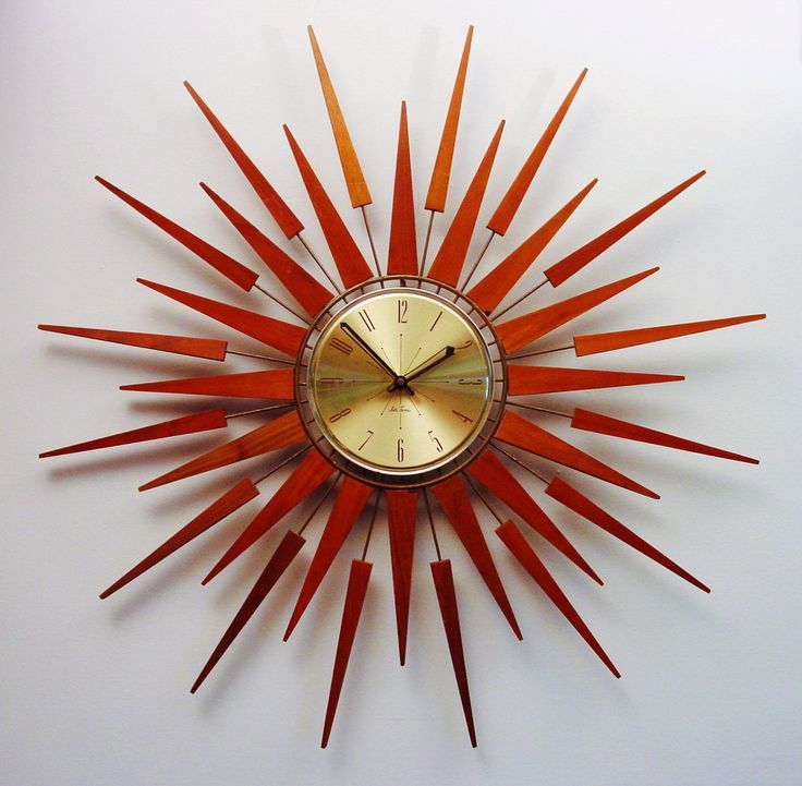 mid century modern starburst wall clock by seth thomas starflower de