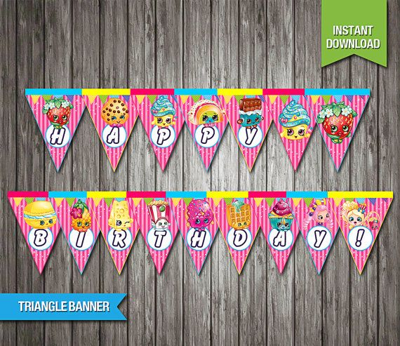 SALE  90% OFF  Shopkins Triangle Banner instant by Partiez on Etsy