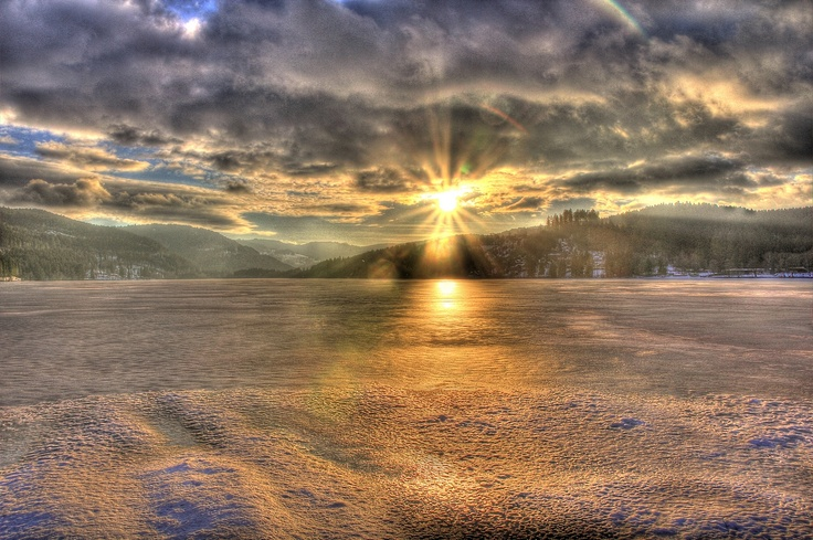 HDR Sunset February 2012 at Lake Titisee (Black Forest/Germany) - © Mike D.S.S Myers