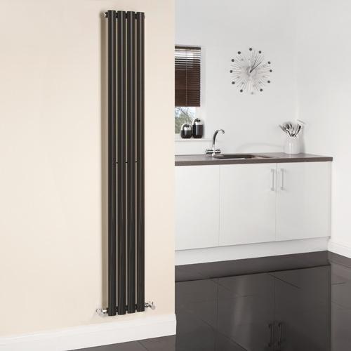 Aruba Luxury High Gloss Black Narrow Vertical Designer Radiator