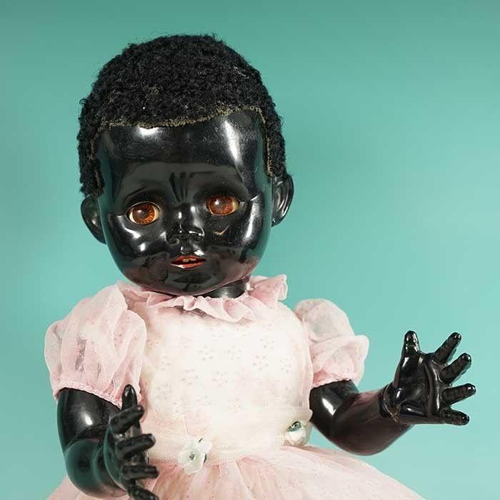 """Lovely Original Old 1950s Black Pedigree Doll Hard Plastic 16"""" Antique Vintage"""