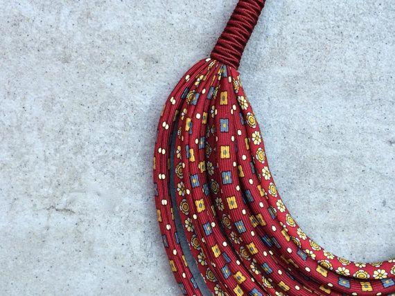 Vintage zijden stof/collana ketting multi/multi gekleurde