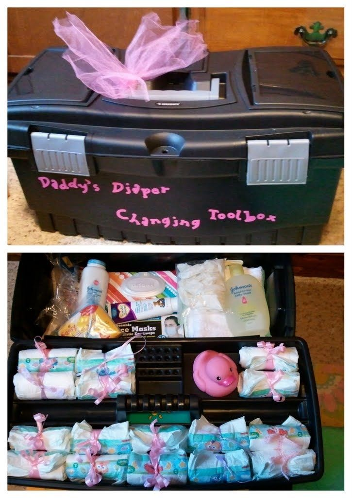 Daddy's Diaper Changing Toolbox! Full of practical stuff and gag gifts to give to the new dad-to-be. Ingredients include: diapers, rubber ducky, baby wipes, safety goggles, rubber gloves, baby shampoo, washcloths, diaper rash ointment, baby powder, diaper bags, tongs, face masks & ear plugs.