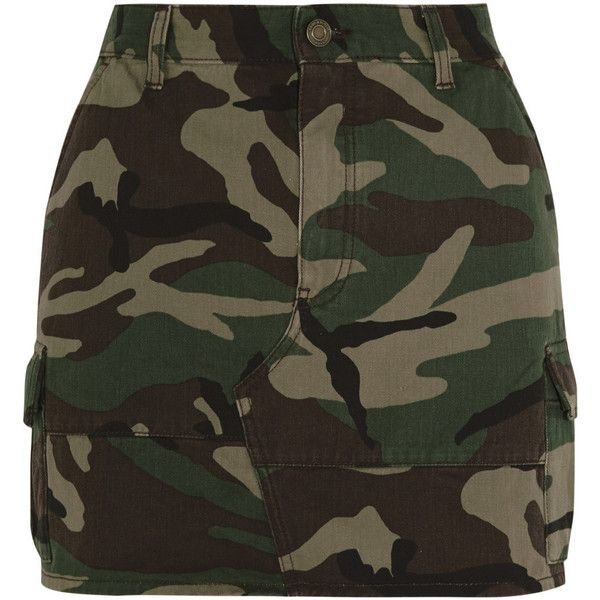 Saint Laurent Camouflage-print denim mini skirt ($665) ❤ liked on Polyvore featuring skirts, mini skirts, green, vintage skirts, military fashion, denim mini skirt, vintage mini skirt and short skirts