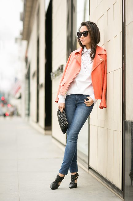 Outfit inspiration from Wendy's Lookbook - hidden lace, coral jacket & cutout pumps.