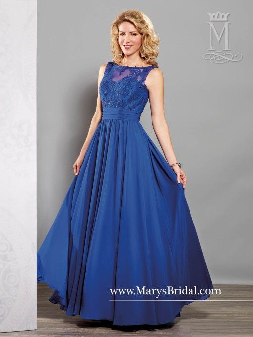 Bateau Neckline with Re-embroidered Lace bodice Mother of the Bride Gown M2715
