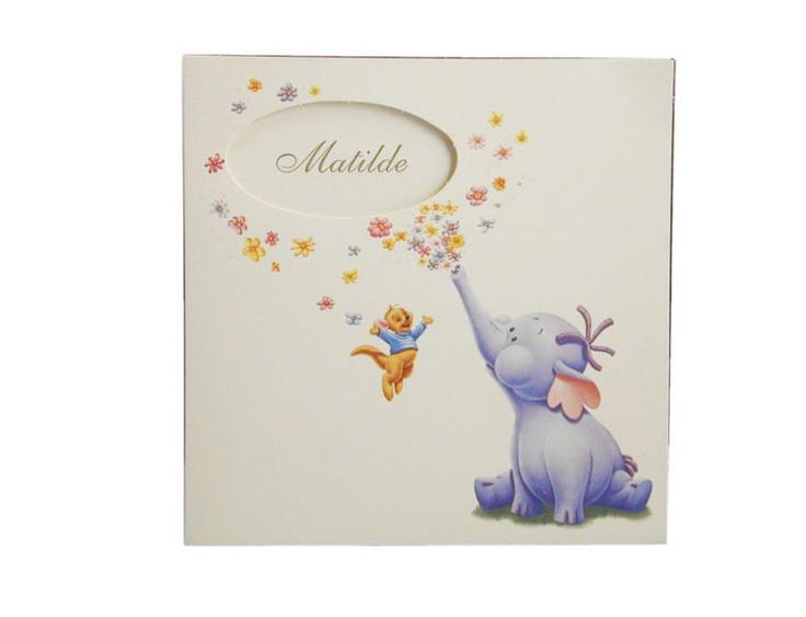 Partecipazione per battesimo con il simpatatico elefantino e topolino Disney..