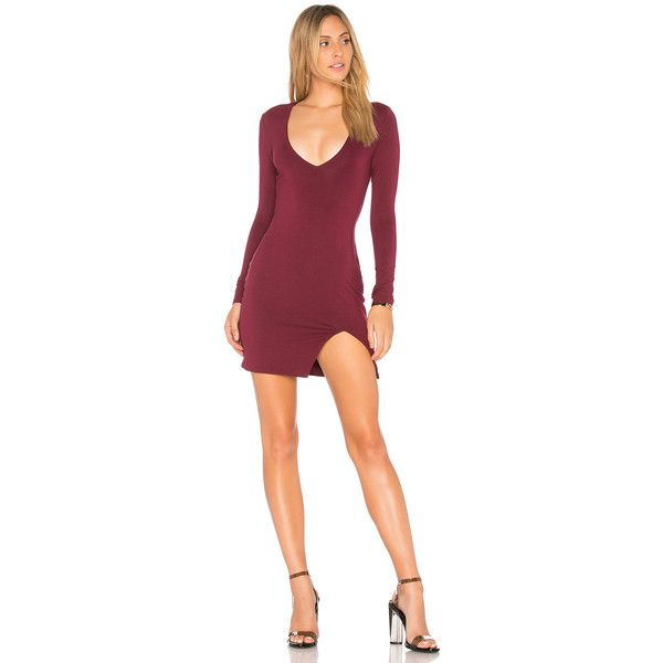 by the way. Riley Deep V Bodycon ($64) ❤ liked on Polyvore featuring dresses, body conscious dress, bodycon dress, red dress, front slit dress and body con dress
