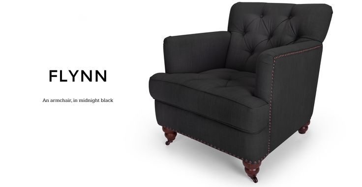 Flynn Midnight Black Armchair | made.com