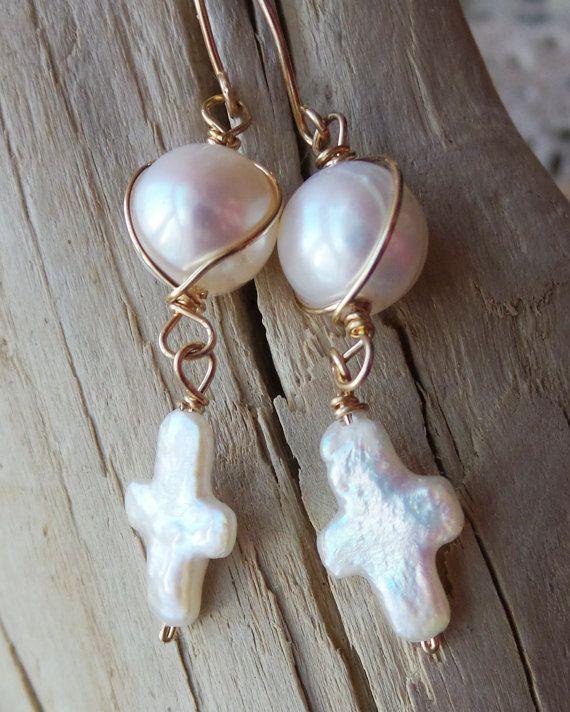 Golden Faith Pearl Earrings Long Gold Pearl Cross Wire