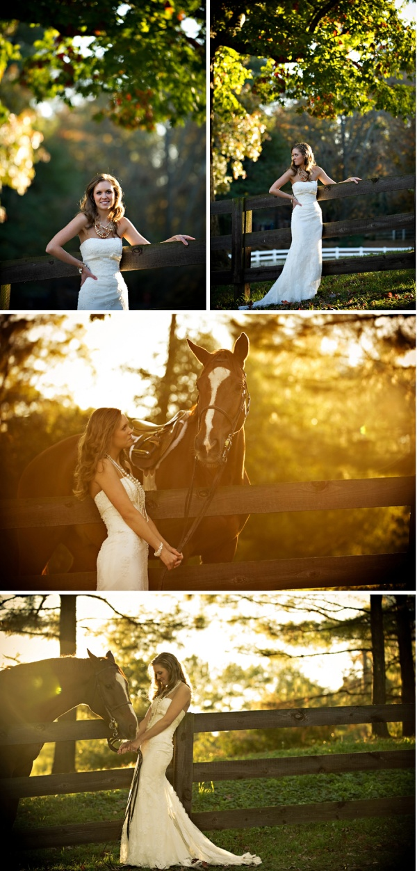 this is definitely the best way to do pictures with your horse in your wedding dress.  keep that beast on the other side of a fence so he doesn't ruin your dress!