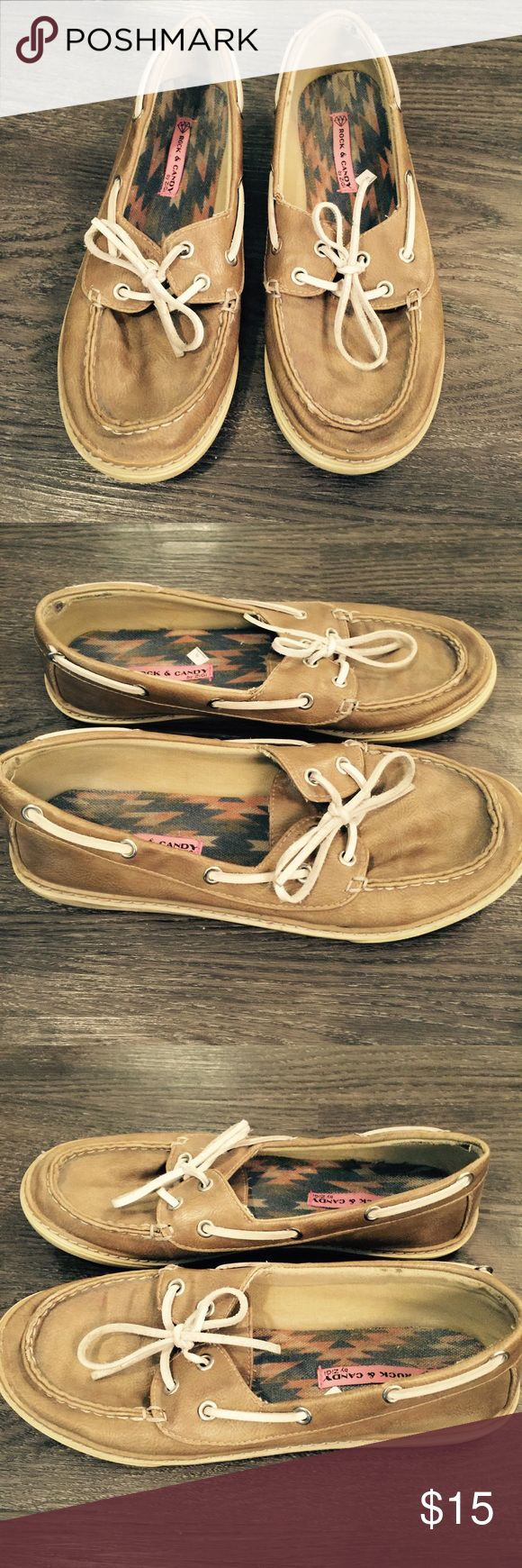 Womens boat shoes. Rock Candy Brand women's boat shoes. Brown. Used. Well worn. Rock Candy Shoes Flats & Loafers