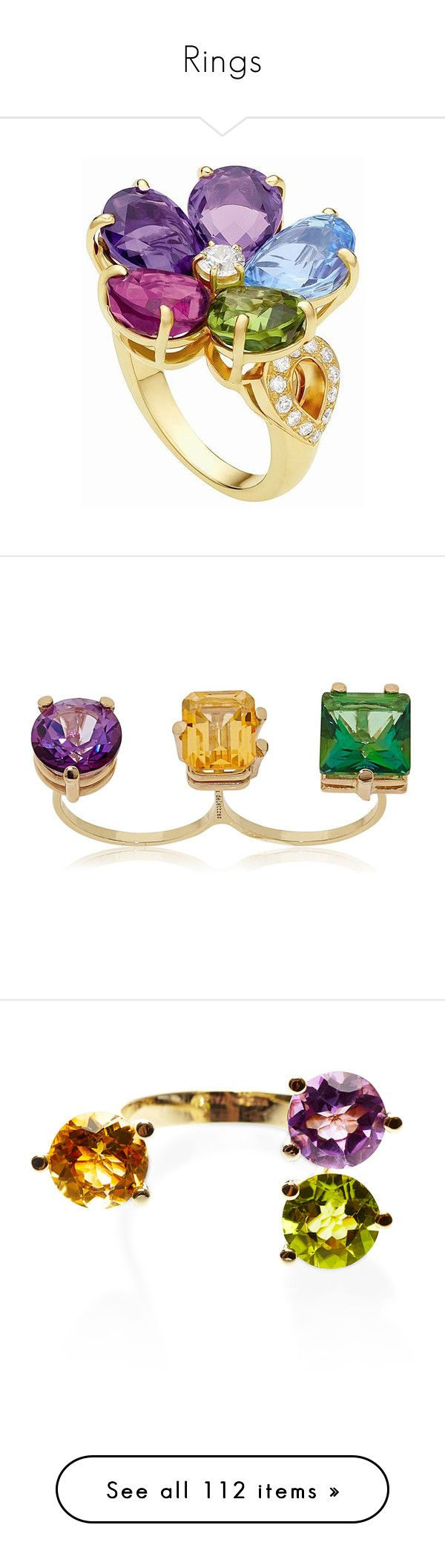 """Rings"" by z777 ❤ liked on Polyvore featuring accessories, jewelry, rings, multi topaz, trio rings, purple jewelry, triple ring, orange topaz jewelry, purple stone rings and multi"