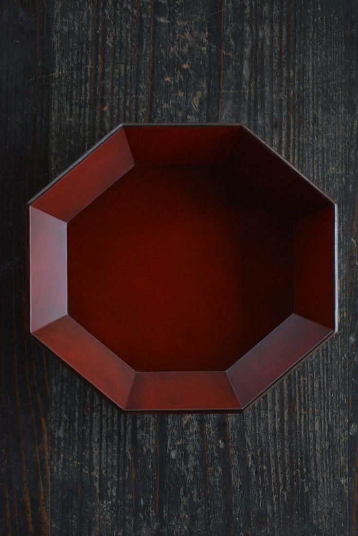 太田修嗣 漆器展 根来塗り、木地もの/根来偏八角鉢(もみ)