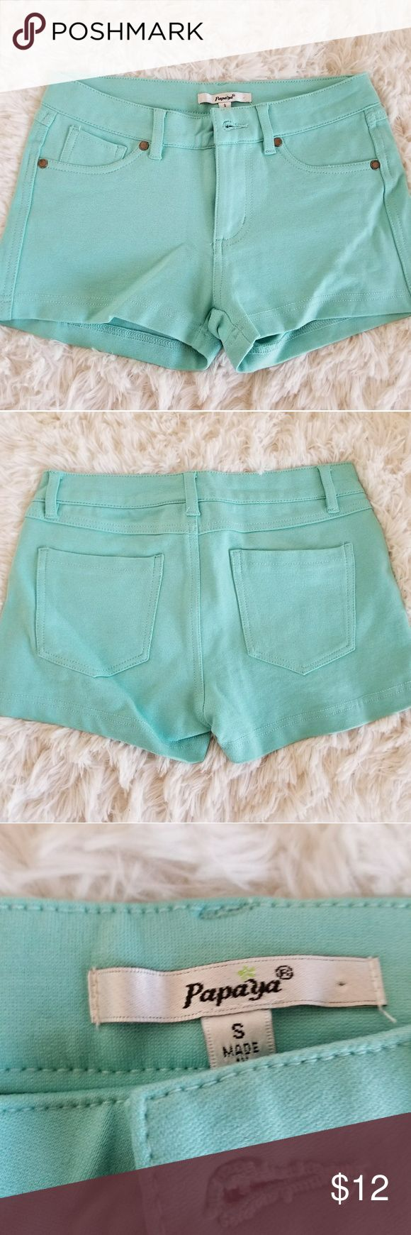 Turquoise shorts They are very comfy. I've only worn them once. They don't fit me anymore. Basically new. Papaya Shorts