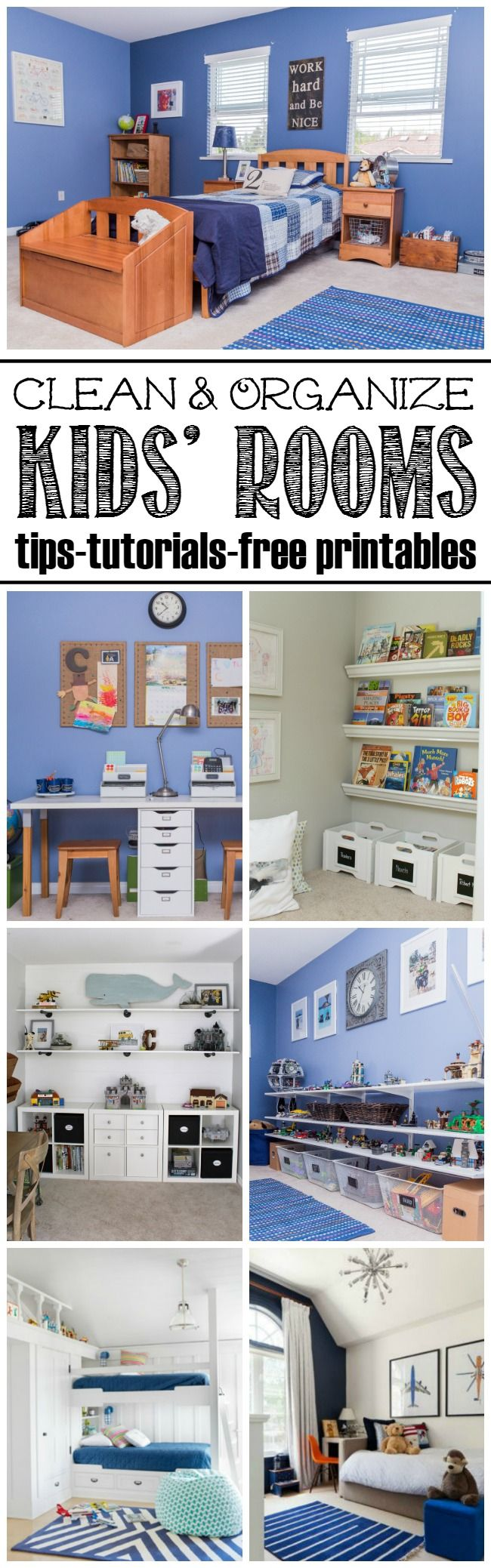 Everything you need to help with kids bedroom organization and cleaning. Free printables, tutorials and organization tips!