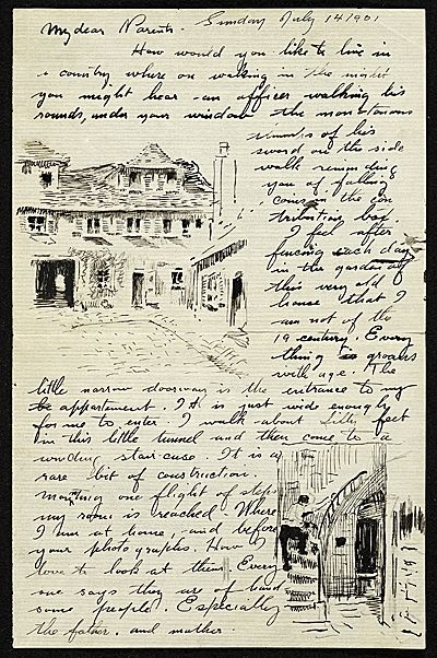 William Cushing Loring to Parents  from More Than Words: Illustrated Letters from the Smithsonian's Archives of American Art