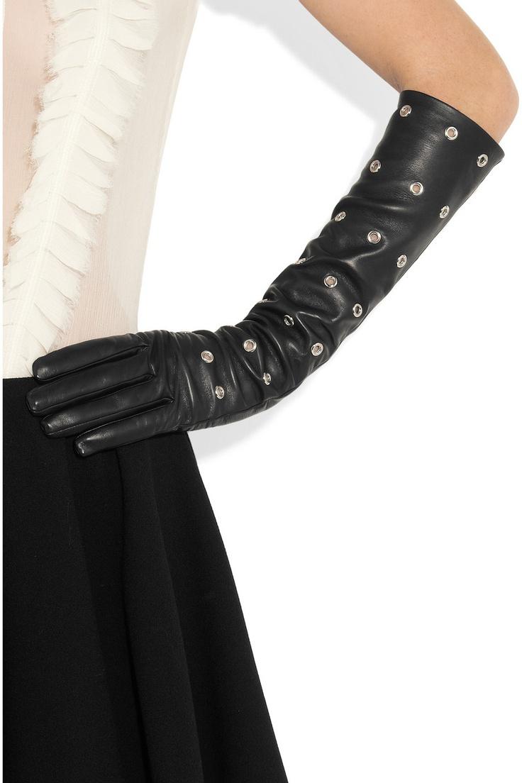 Black leather gloves brisbane - Causse Gantier Eyelet Leather Gloves