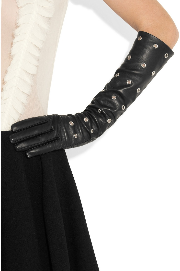 Black leather gloves sydney - Causse Gantier Eyelet Leather Gloves