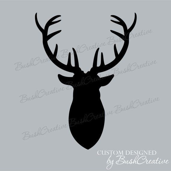 Antlers Mounted Deer Head Wall Decal Hunting by bushcreative