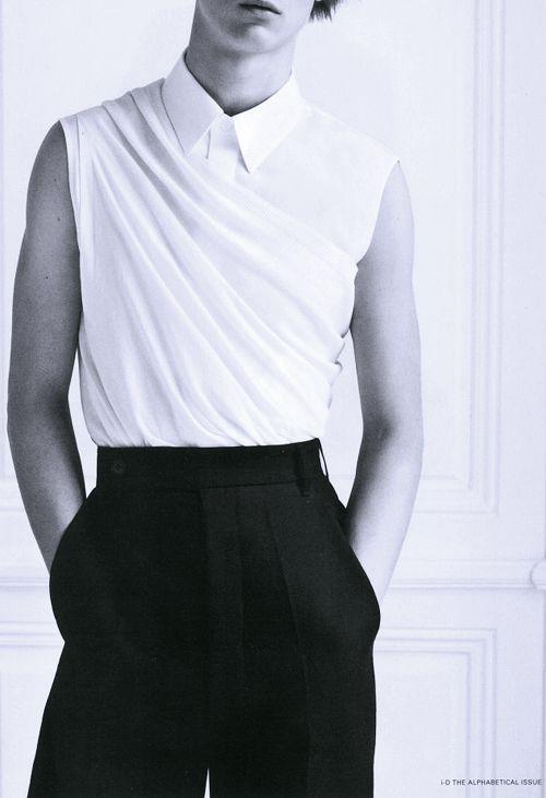 versusversace:  Louis Steyaertby Karim Sadli i-D magazine The Alphabetical Issuepre-spring 2013 Top and trousers by Rick Owens. Shirt by Jil Sander
