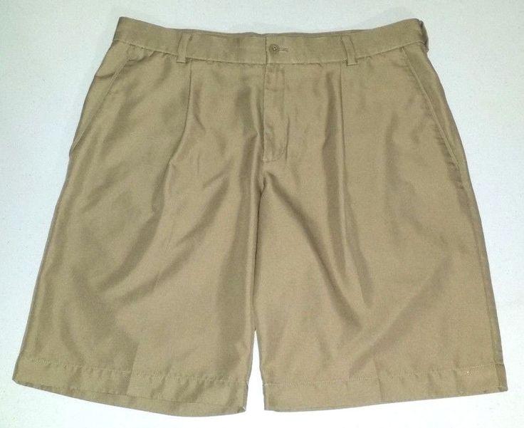 Nike Golf Tour Pleat Golf shorts mens 34 beige tan athletic sports golf shorts #Nike #Athletic