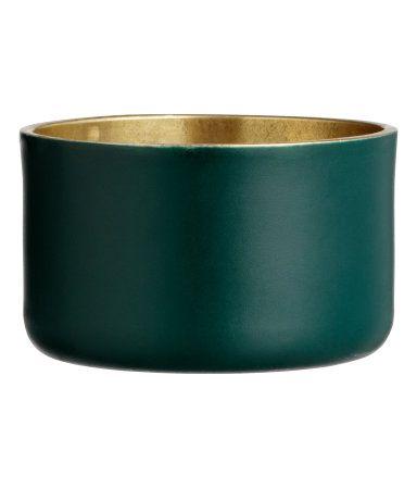 Liten ljuslykta i metall   Mörkgrön   H&M HOME   H&M SE