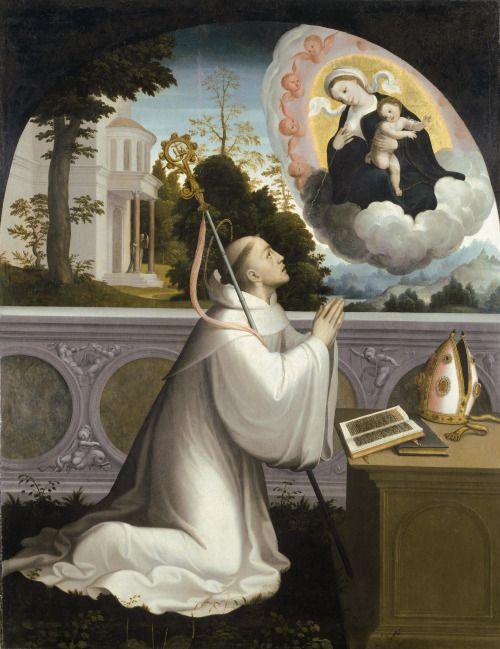 "coriesu: ""The Virgin with St. Bernard Juan Correa de Vivar––1540 """