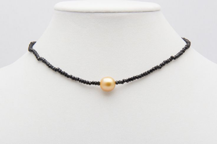 Golden South Sea Pearl and Black Spinel Choker Necklace