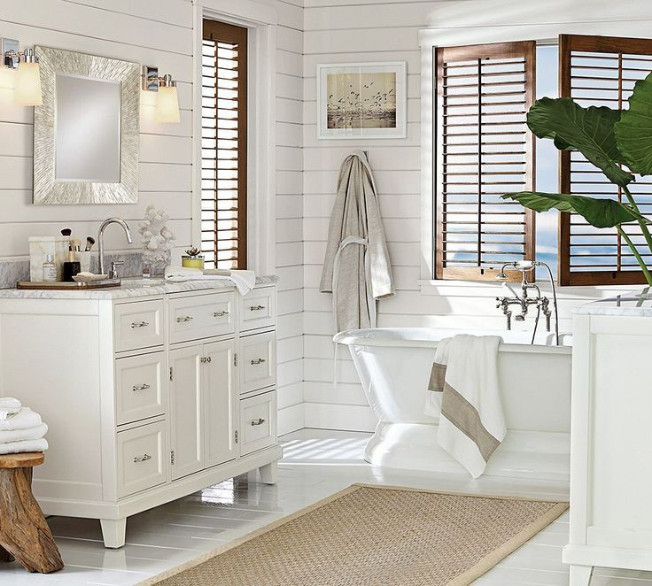 Coastal Style: Bath Time | Hamptons Style - Love the wood grain shutters as a contrast.
