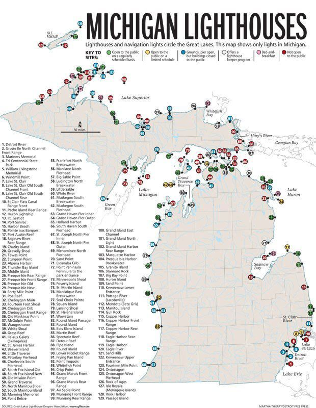 A detailed map of Michigan's Lighthouses  My Michigan Bucket List: Visit and photograph as many as I can of all the MI Lighthouses! #puremichigan