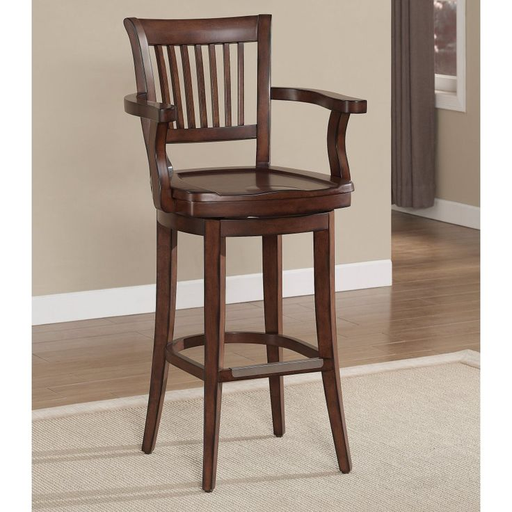 Furniture amazing traditional brown wooden bar stool with arms and wod cap back on beige Extra Tall