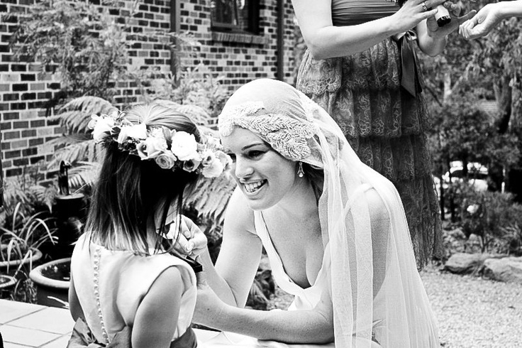 A bride and her flowergirl