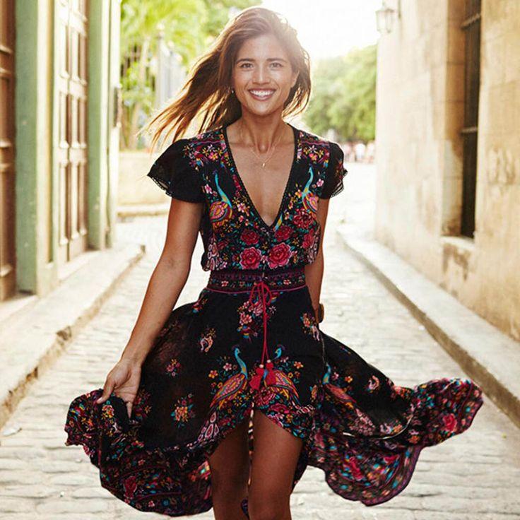 Mulher moda verão boho dress ethenic sexy imprimir retro vintage dress tassel beach dress bohemian hippie dress robe novo em Vestidos de Das mulheres Roupas & Acessórios no AliExpress.com | Alibaba Group