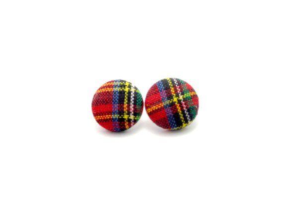 Tartan plaid fabric button earrings - plaid earrings - plaid button