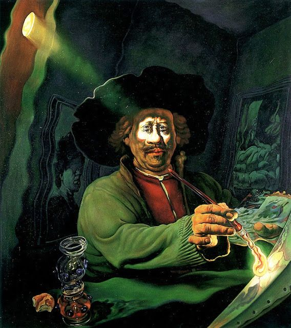 Fritz Aigner. Depiction of Rembrandt. Painter of light and shadow.