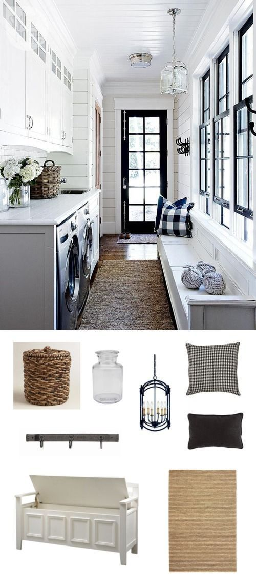 Make your laundry space look straight off the coast of Nantucket with a few beach-inspired pieces and a palette of navy and white.