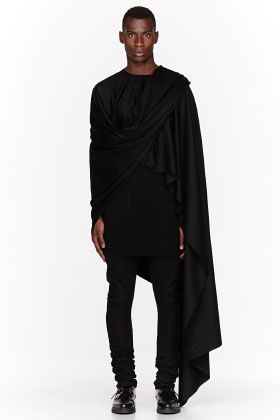 Thamanyah Black Fleece & Angora Ehram Cape for men | SSENSE
