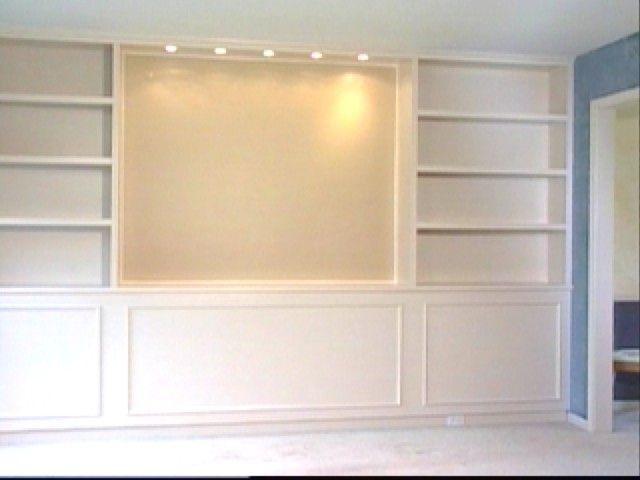 wall mounted tv and shelving idea