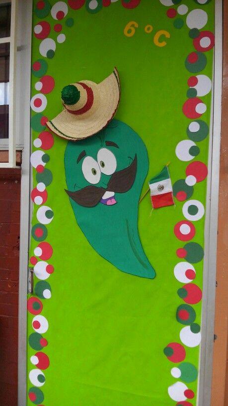 Decoración de puerta mexicana, fiestas patrias, chile mexicano