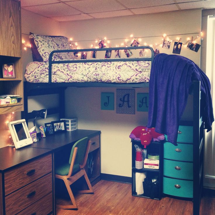College dorm room loft beds woodworking projects plans for Cute dorm bathroom ideas
