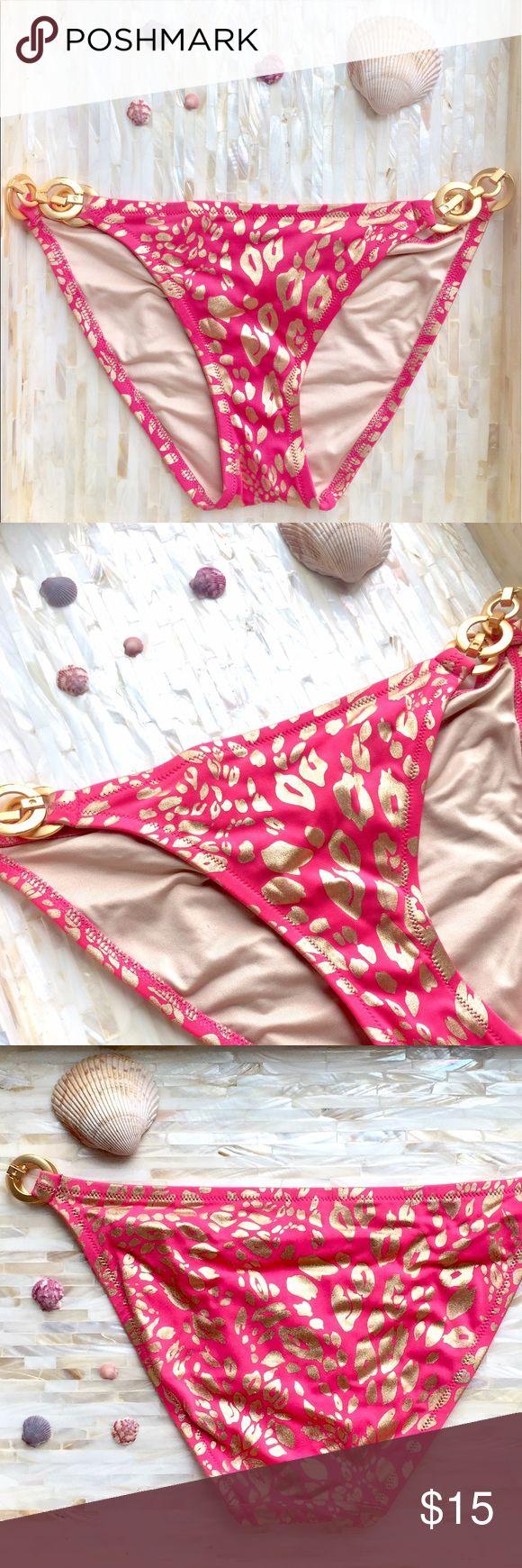 VICTORIA'S SECRET gold/pink leopard bikini bottom Strut your stuff on the beach in this shimmery gold leopard print hot pink bikini bottoms. Gold circle chain sides. Victoria's Secret Swim Bikinis