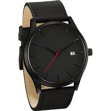 COCOTINA Men's Fashion Leather Band Wrist Watch Quartz Watch (Black)