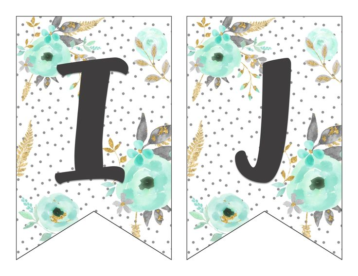 Free Printable Alphabet Banner Mint and Gold. I'm thinking I could use these to decorate the journals I want to make to go along with One Thousand Gifts.