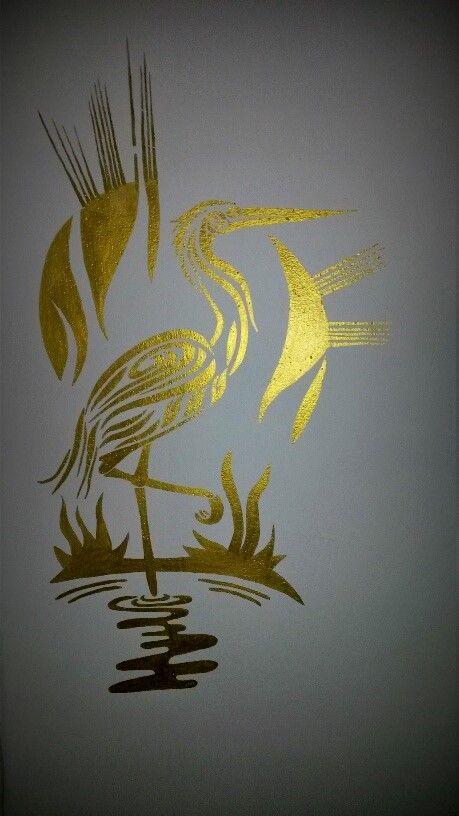 zlatá akrylová barva - čáp