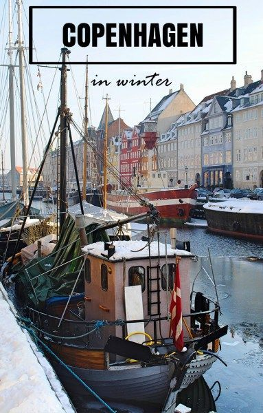 Nyhavn canal in Copenhagen is absolutely gorgeous in the winter. Snow covers everything and canals freeze over.